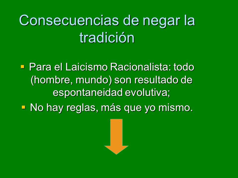 Consecuencias de negar la tradición Para el Laicismo Racionalista: todo (hombre, mundo) son resultado de espontaneidad evolutiva; Para el Laicismo Racionalista: todo (hombre, mundo) son resultado de espontaneidad evolutiva; No hay reglas, más que yo mismo.