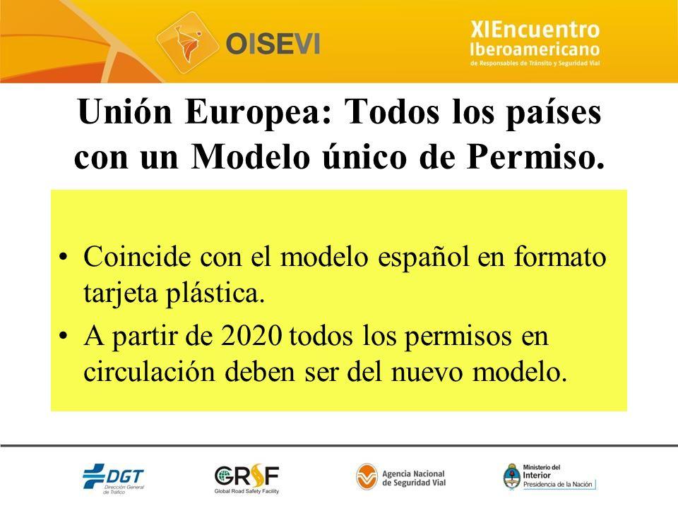 Unión Europea: Todos los países con un Modelo único de Permiso. Coincide con el modelo español en formato tarjeta plástica. A partir de 2020 todos los
