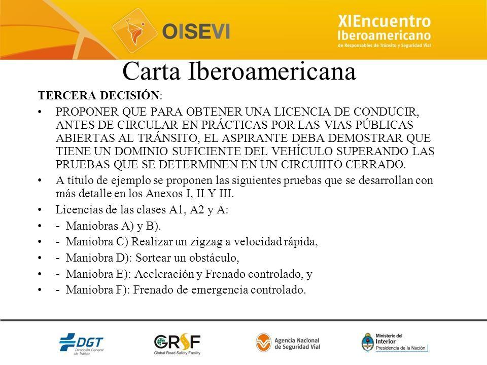 Carta Iberoamericana TERCERA DECISIÓN: PROPONER QUE PARA OBTENER UNA LICENCIA DE CONDUCIR, ANTES DE CIRCULAR EN PRÁCTICAS POR LAS VIAS PÚBLICAS ABIERT