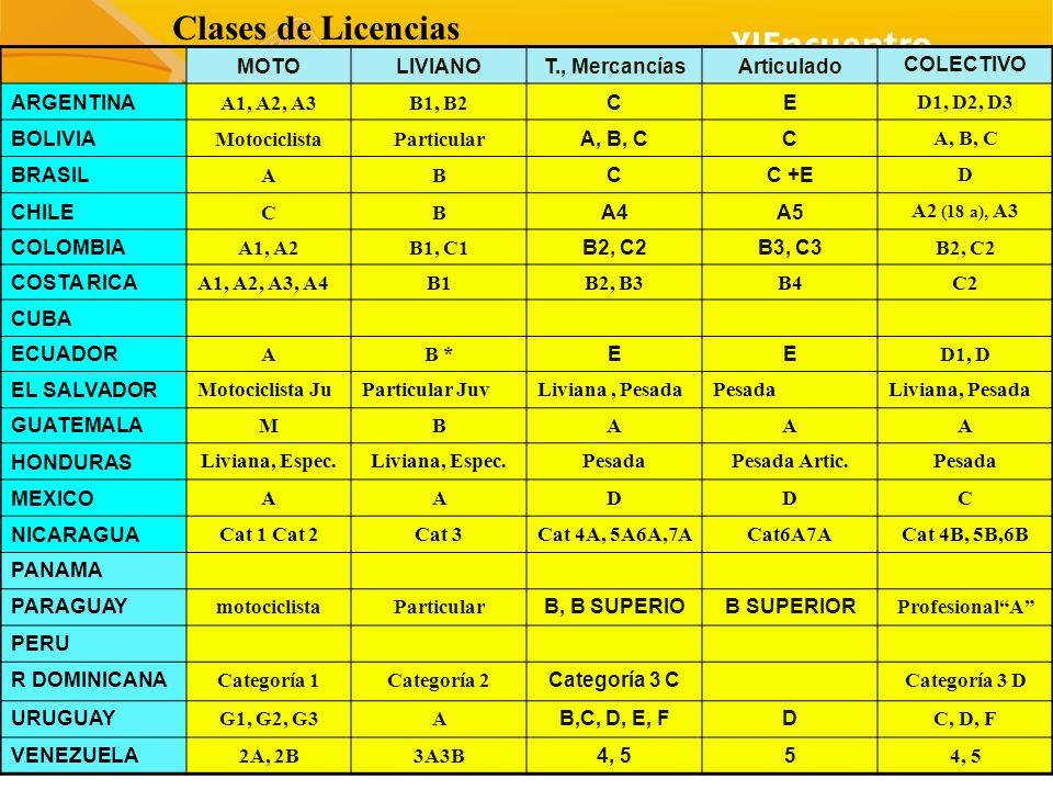 MOTOLIVIANOT., MercancíasArticulado COLECTIVO ARGENTINA A1, A2, A3B1, B2 CE D1, D2, D3 BOLIVIA MotociclistaParticular A, B, CC BRASIL AB CC +E D CHILE