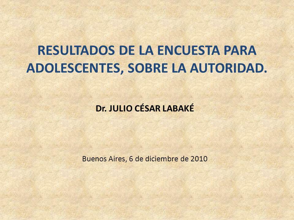 RESULTADOS DE LA ENCUESTA PARA ADOLESCENTES, SOBRE LA AUTORIDAD. Dr. JULIO CÉSAR LABAKÉ Buenos Aires, 6 de diciembre de 2010