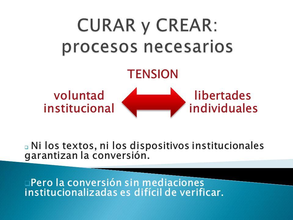 TENSION voluntad libertades institucional individuales Ni los textos, ni los dispositivos institucionales garantizan la conversión. Pero la conversión