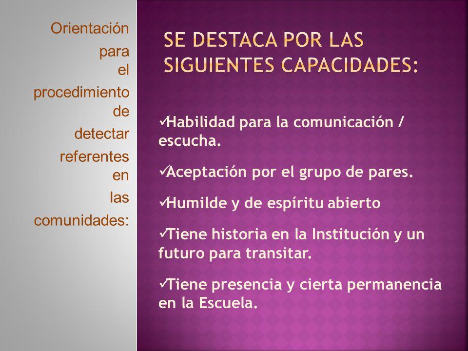 Orientación para el procedimiento de detectar referentes en las comunidades: Habilidad para la comunicación / escucha.