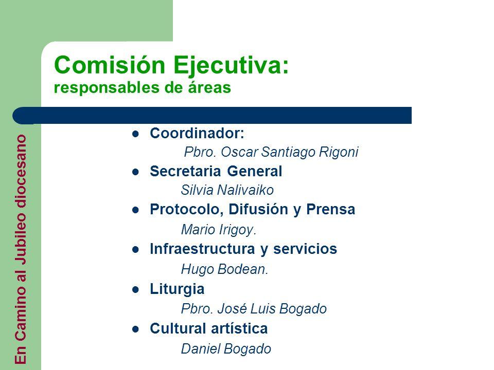 Comisión Ejecutiva: responsables de áreas Coordinador: Pbro. Oscar Santiago Rigoni Secretaria General Silvia Nalivaiko Protocolo, Difusión y Prensa Ma
