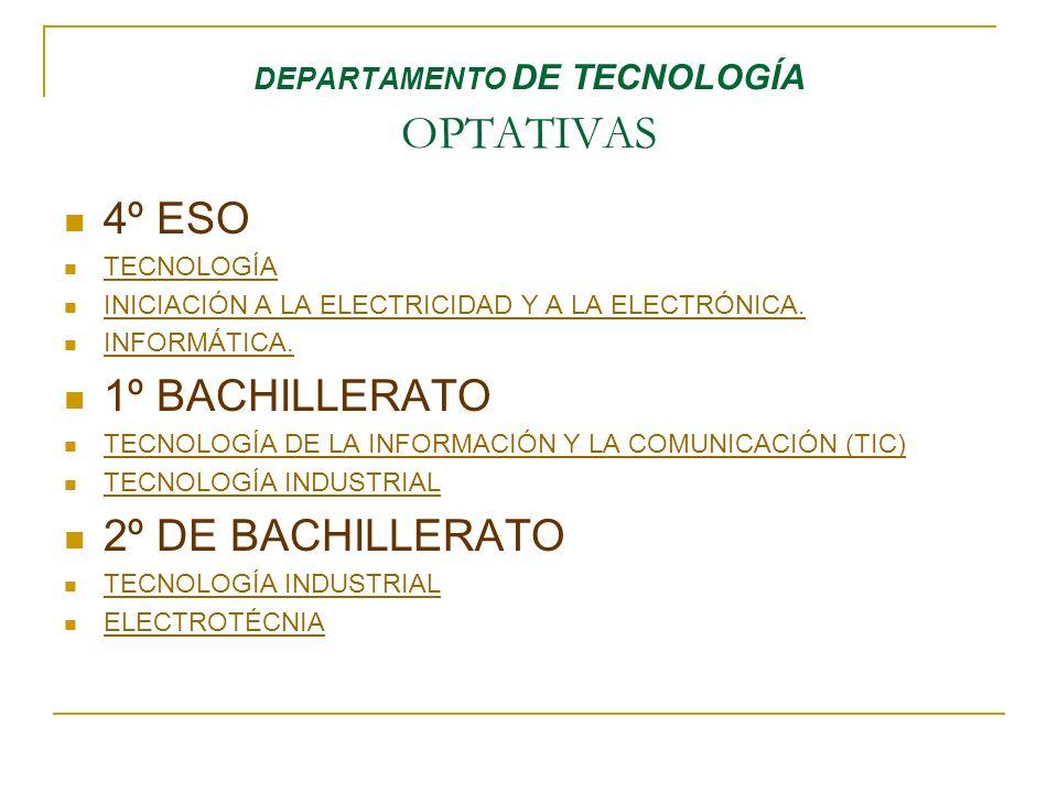 DEPARTAMENTO DE TECNOLOGÍA OPTATIVAS 4º ESO TECNOLOGÍA INICIACIÓN A LA ELECTRICIDAD Y A LA ELECTRÓNICA. INFORMÁTICA. 1º BACHILLERATO TECNOLOGÍA DE LA