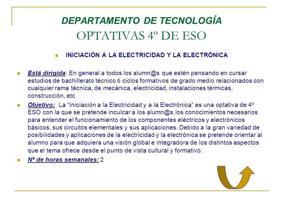 DEPARTAMENTO DE TECNOLOGÍA OPTATIVAS 4º DE ESO INICIACIÓN A LA ELECTRICIDAD Y LA ELECTRÓNICA Está dirigida: En general a todos los alumn@s que estén p