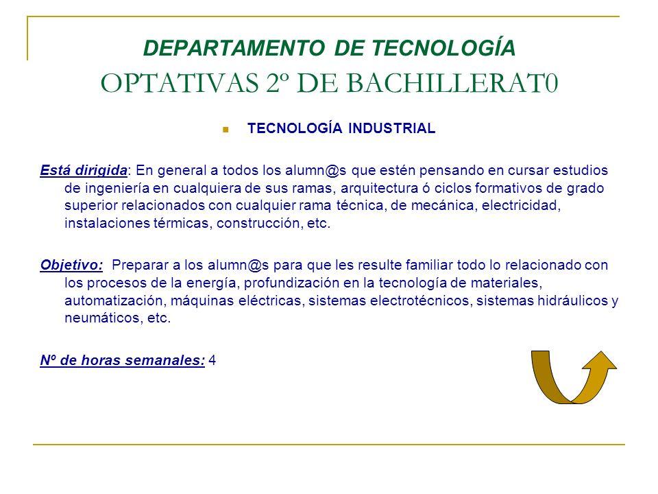 DEPARTAMENTO DE TECNOLOGÍA OPTATIVAS 2º DE BACHILLERAT0 TECNOLOGÍA INDUSTRIAL Está dirigida: En general a todos los alumn@s que estén pensando en curs