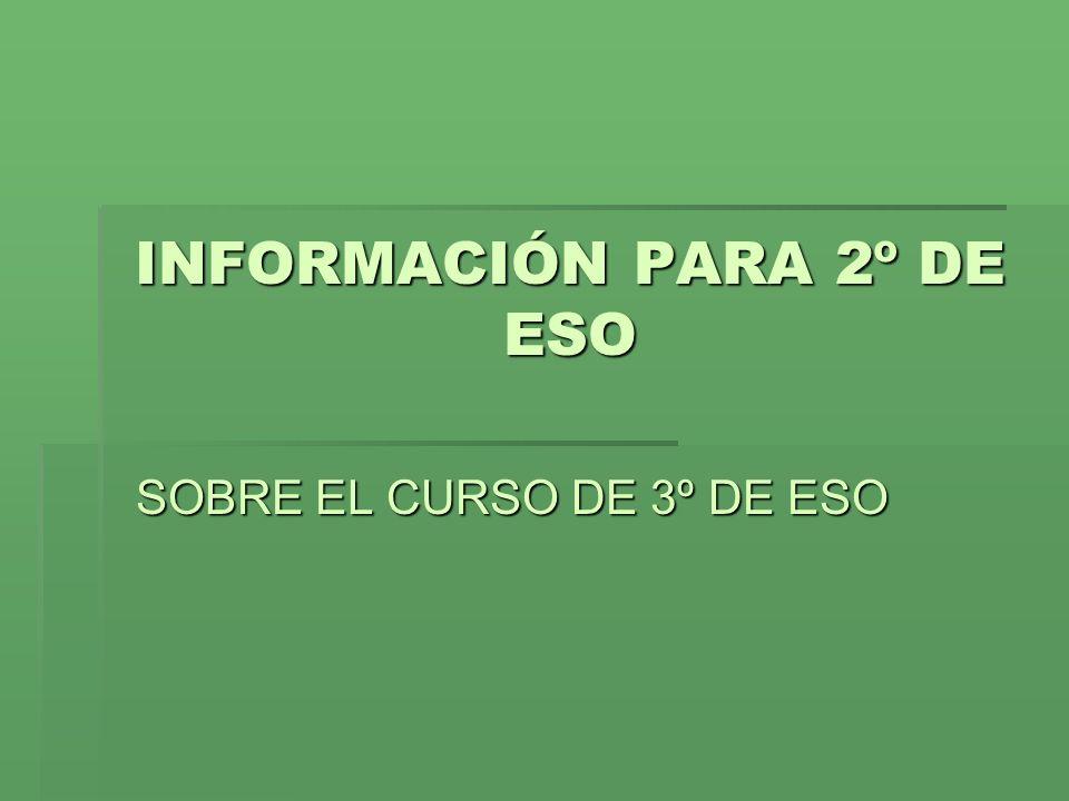 INFORMACIÓN PARA 2º DE ESO SOBRE EL CURSO DE 3º DE ESO