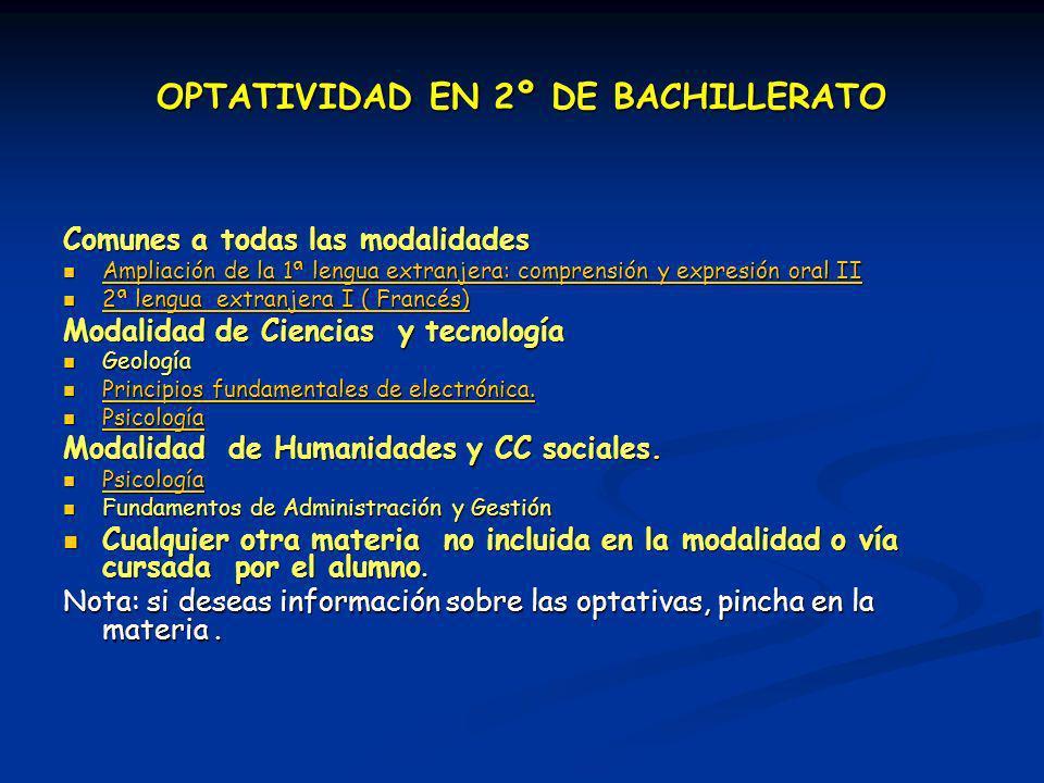 OPTATIVIDAD EN 2º DE BACHILLERATO Comunes a todas las modalidades Ampliación de la 1ª lengua extranjera: comprensión y expresión oral II Ampliación de