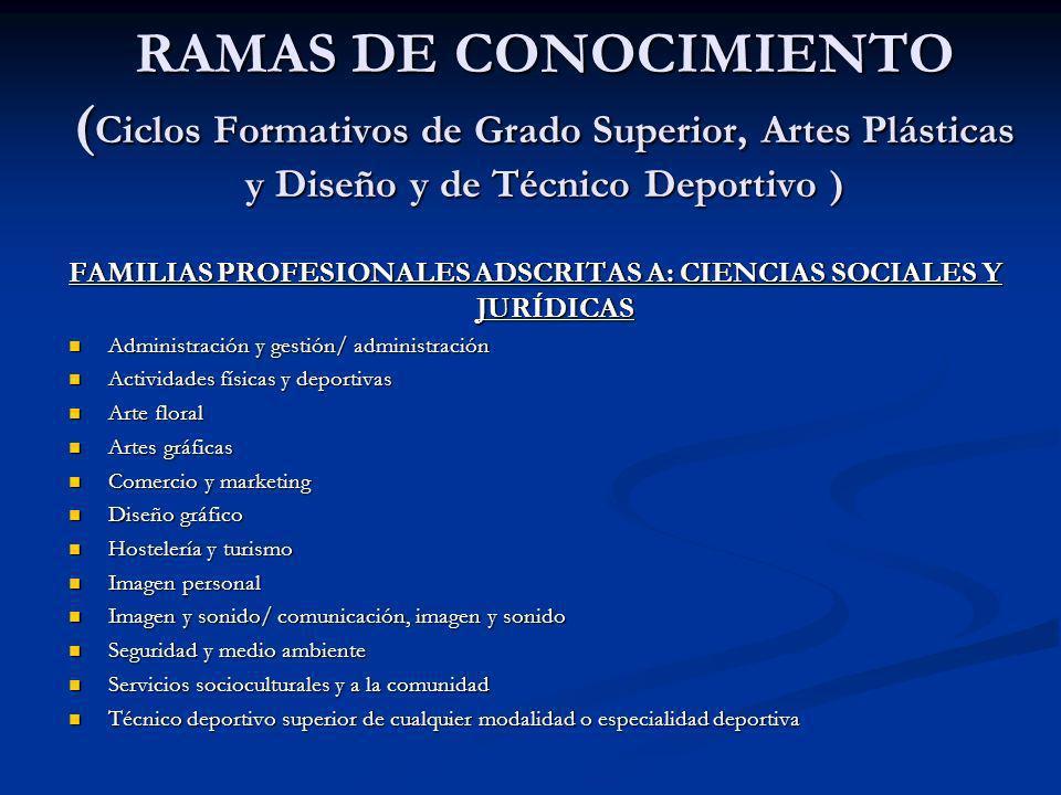 RAMAS DE CONOCIMIENTO ( Ciclos Formativos de Grado Superior, Artes Plásticas y Diseño y de Técnico Deportivo ) FAMILIAS PROFESIONALES ADSCRITAS A: CIE