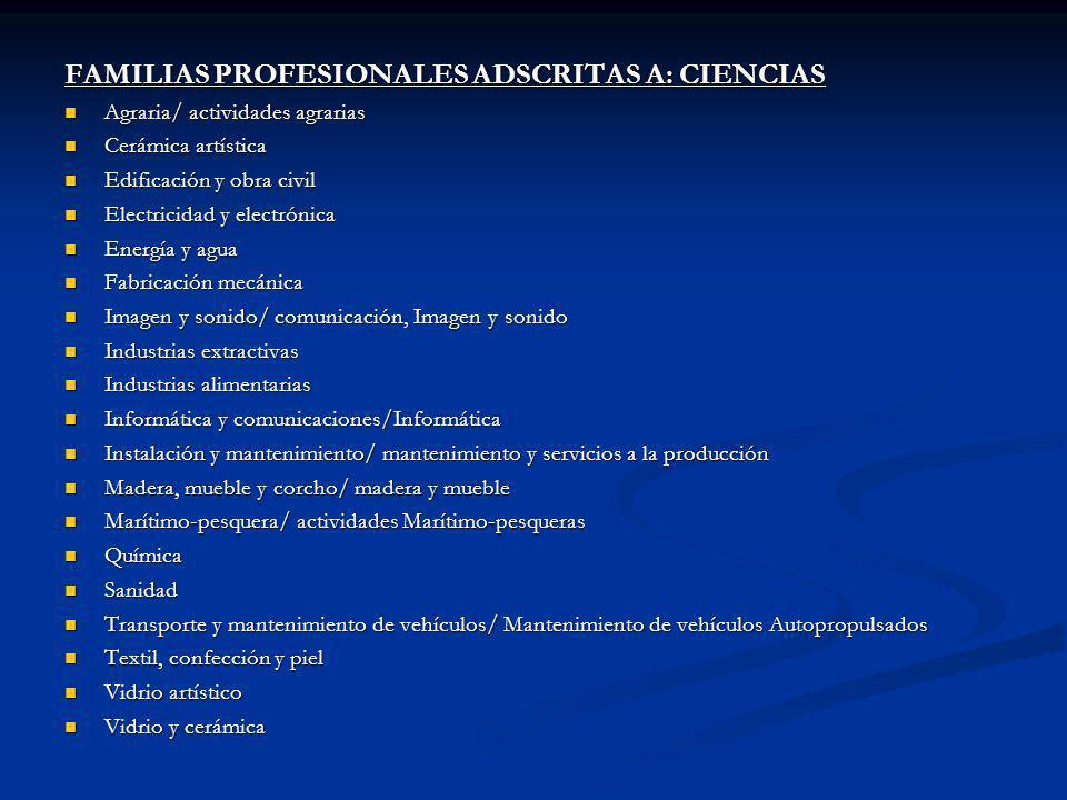 FAMILIAS PROFESIONALES ADSCRITAS A: CIENCIAS Agraria/ actividades agrarias Agraria/ actividades agrarias Cerámica artística Cerámica artística Edifica