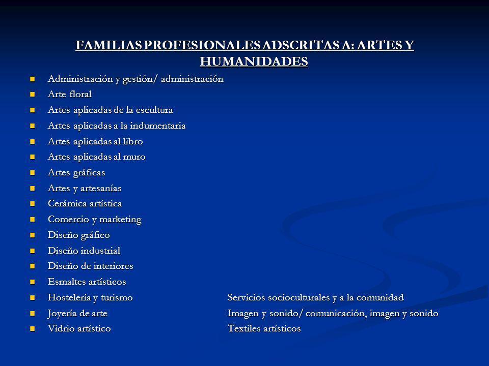 FAMILIAS PROFESIONALES ADSCRITAS A: ARTES Y HUMANIDADES Administración y gestión/ administración Administración y gestión/ administración Arte floral