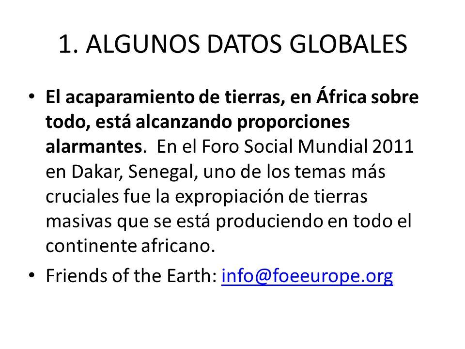 1. ALGUNOS DATOS GLOBALES El acaparamiento de tierras, en África sobre todo, está alcanzando proporciones alarmantes. En el Foro Social Mundial 2011 e