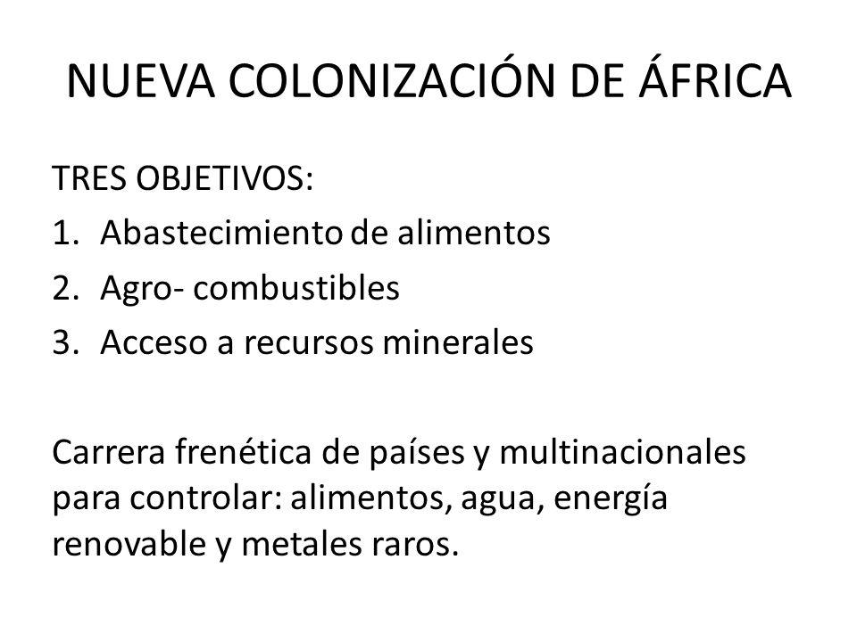 NUEVA COLONIZACIÓN DE ÁFRICA TRES OBJETIVOS: 1.Abastecimiento de alimentos 2.Agro- combustibles 3.Acceso a recursos minerales Carrera frenética de paí