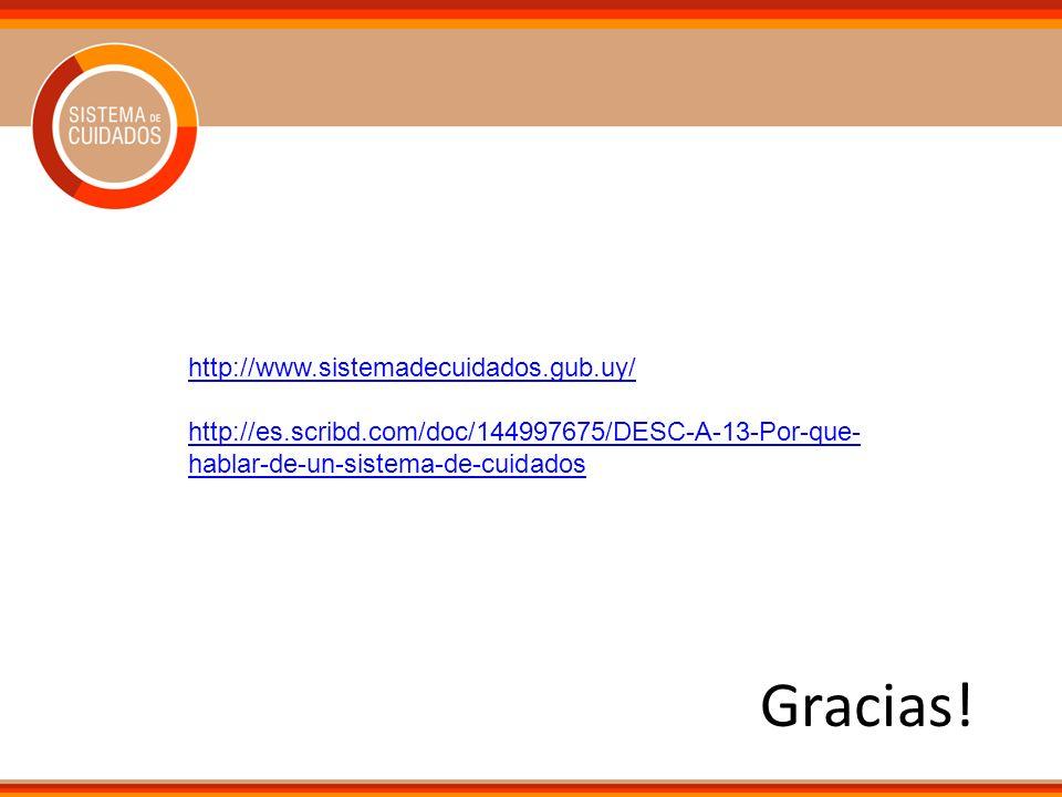 Gracias! http://www.sistemadecuidados.gub.uy/ http://es.scribd.com/doc/144997675/DESC-A-13-Por-que- hablar-de-un-sistema-de-cuidados