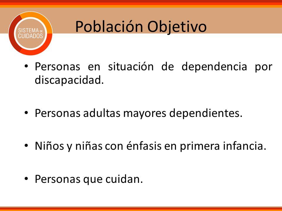 Población Objetivo Personas en situación de dependencia por discapacidad. Personas adultas mayores dependientes. Niños y niñas con énfasis en primera