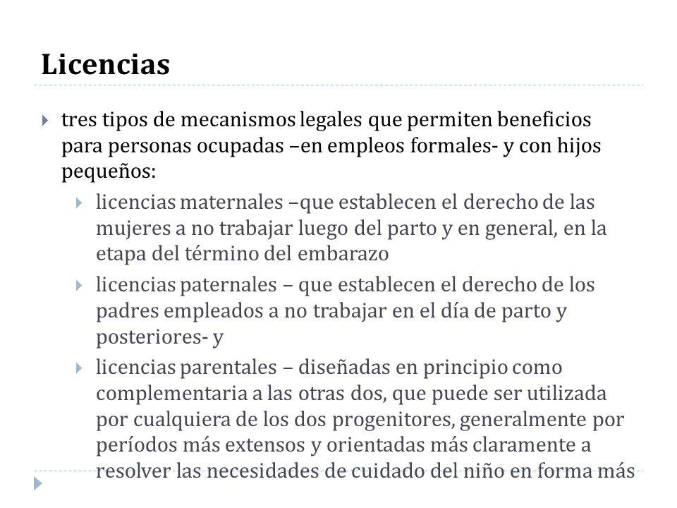 Licencias tres tipos de mecanismos legales que permiten beneficios para personas ocupadas –en empleos formales- y con hijos pequeños: licencias matern