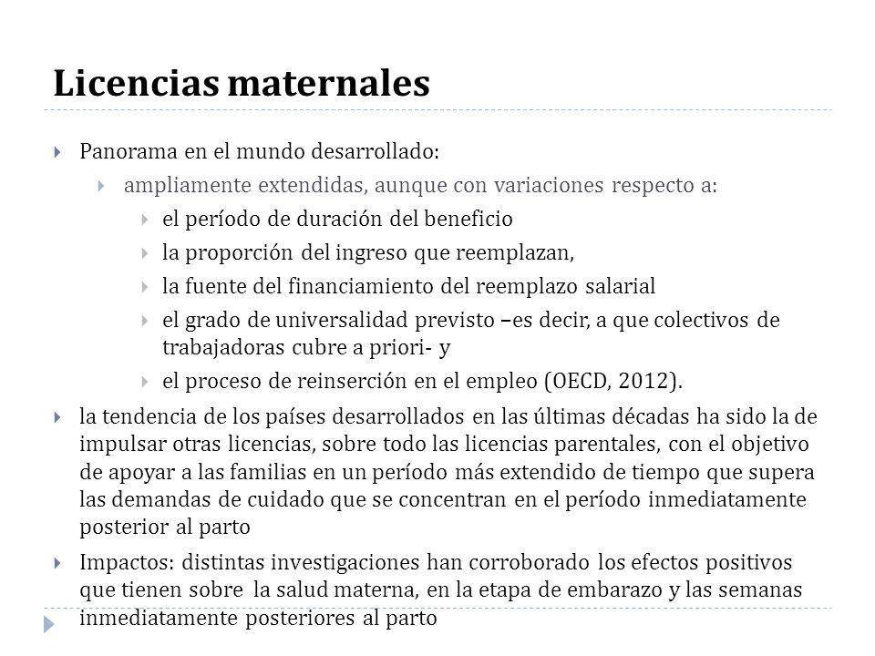 Licencias maternales Panorama en el mundo desarrollado: ampliamente extendidas, aunque con variaciones respecto a: el período de duración del benefici