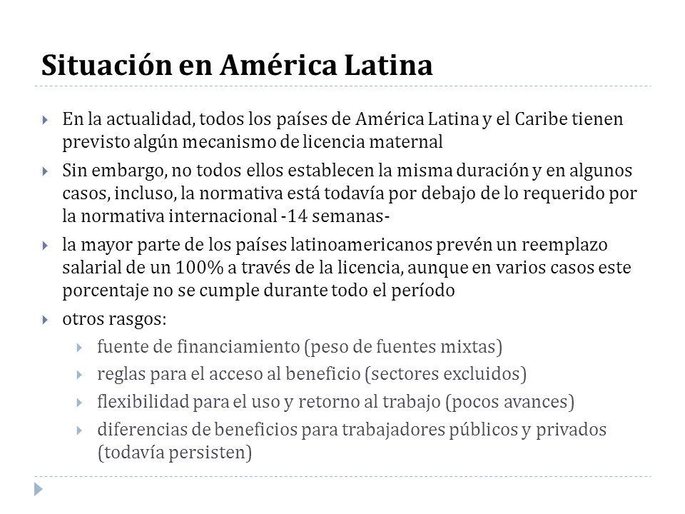 Situación en América Latina En la actualidad, todos los países de América Latina y el Caribe tienen previsto algún mecanismo de licencia maternal Sin