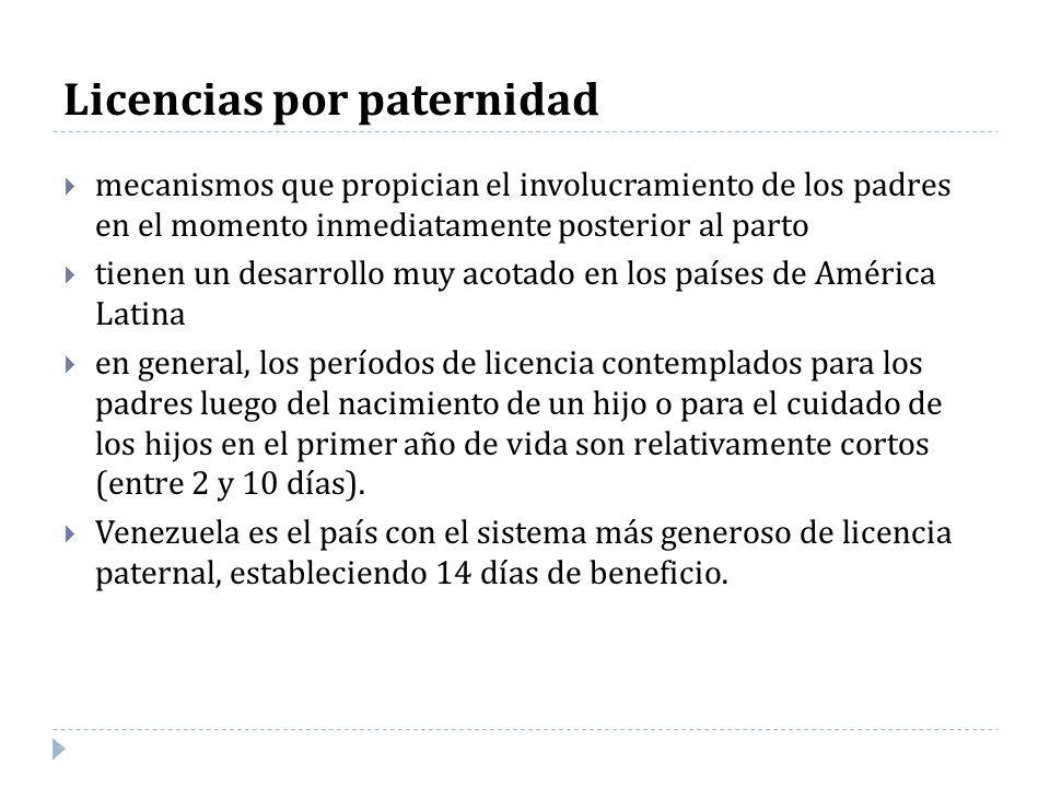 Licencias por paternidad mecanismos que propician el involucramiento de los padres en el momento inmediatamente posterior al parto tienen un desarroll