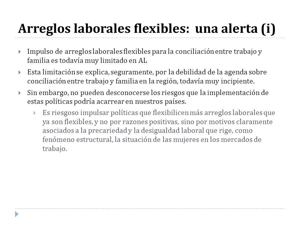 Arreglos laborales flexibles: una alerta (i) Impulso de arreglos laborales flexibles para la conciliación entre trabajo y familia es todavía muy limit