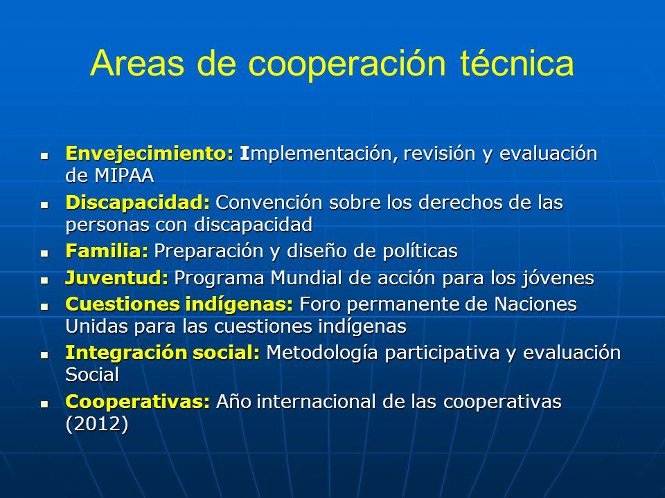 Areas de cooperación técnica Envejecimiento: Implementación, revisión y evaluación de MIPAA Envejecimiento: Implementación, revisión y evaluación de M