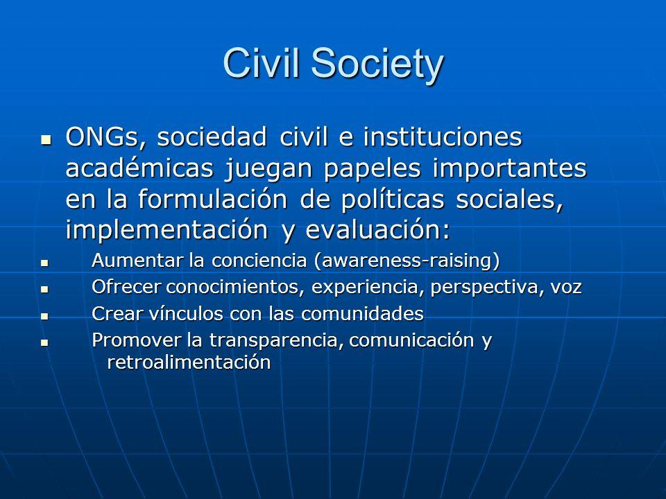 Civil Society ONGs, sociedad civil e instituciones académicas juegan papeles importantes en la formulación de políticas sociales, implementación y eva