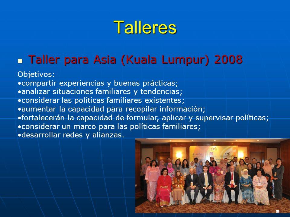 Talleres Taller para Asia (Kuala Lumpur) 2008 Taller para Asia (Kuala Lumpur) 2008 Objetivos: compartir experiencias y buenas prácticas; analizar situ