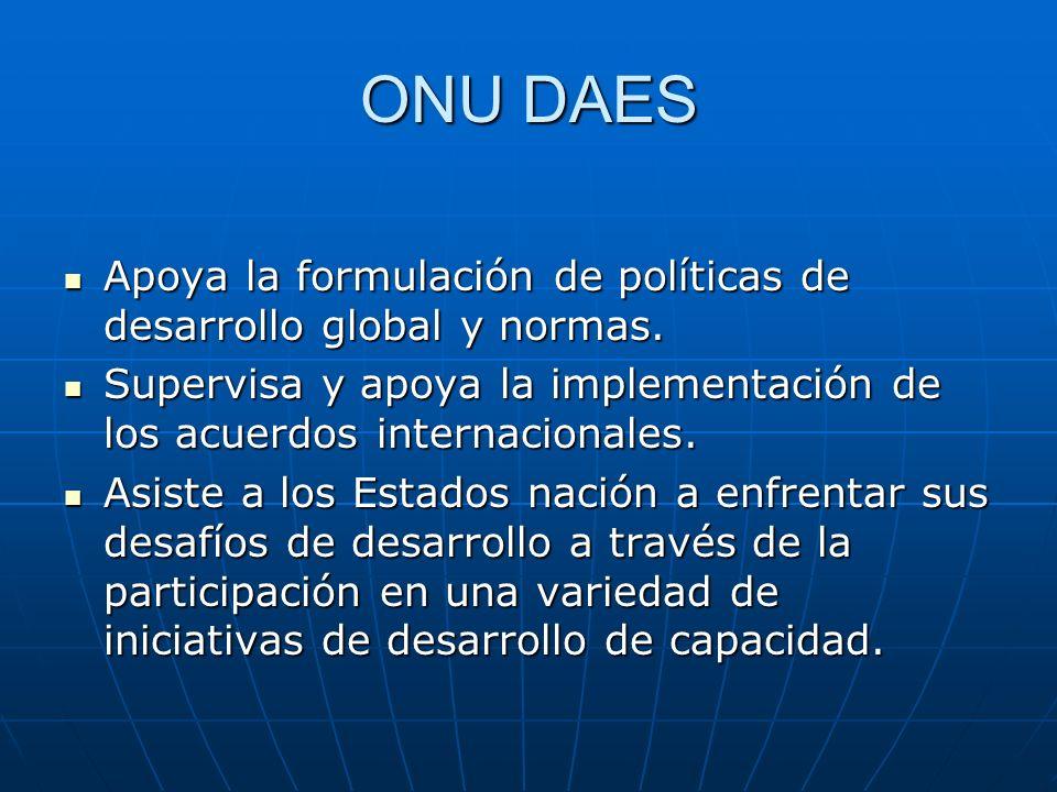 ONU DAES Apoya la formulación de políticas de desarrollo global y normas. Apoya la formulación de políticas de desarrollo global y normas. Supervisa y