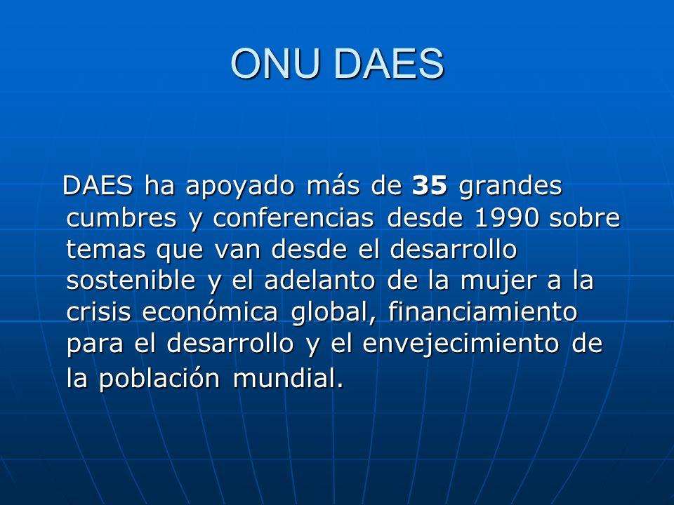 ONU DAES DAES ha apoyado más de 35 grandes cumbres y conferencias desde 1990 sobre temas que van desde el desarrollo sostenible y el adelanto de la mu