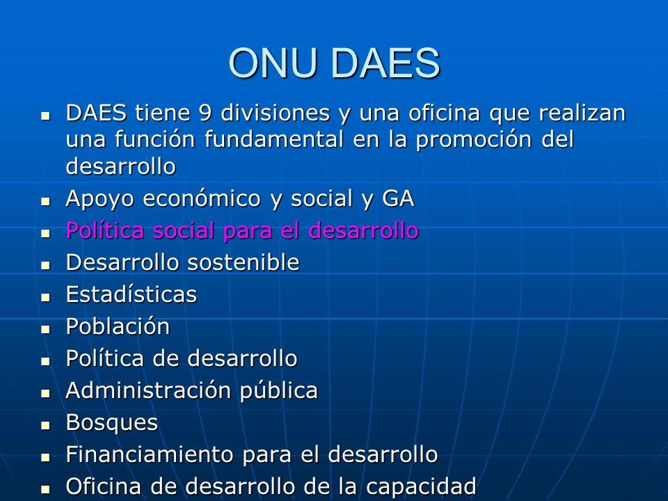 ONU DAES DAES tiene 9 divisiones y una oficina que realizan una función fundamental en la promoción del desarrollo DAES tiene 9 divisiones y una ofici