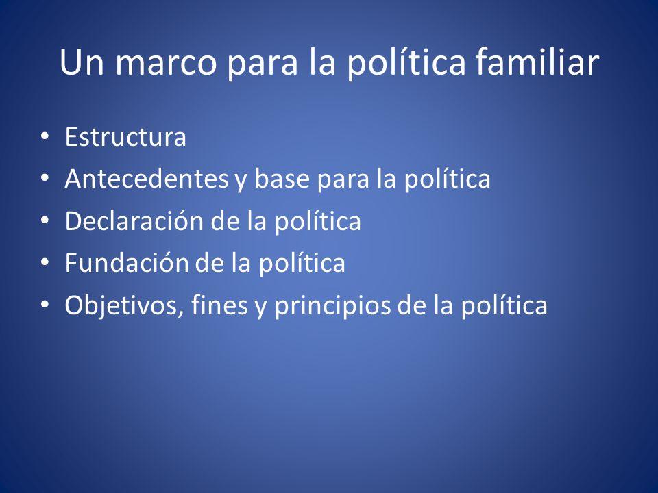 Un marco para la política familiar Estructura Antecedentes y base para la política Declaración de la política Fundación de la política Objetivos, fines y principios de la política