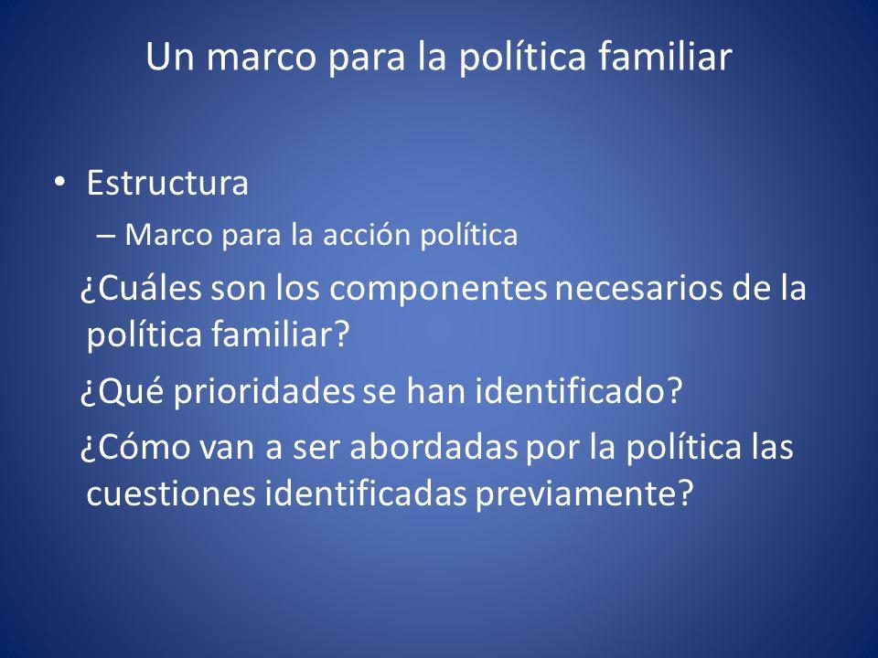Un marco para la política familiar Estructura – Marco para la acción política ¿Cuáles son los componentes necesarios de la política familiar? ¿Qué pri