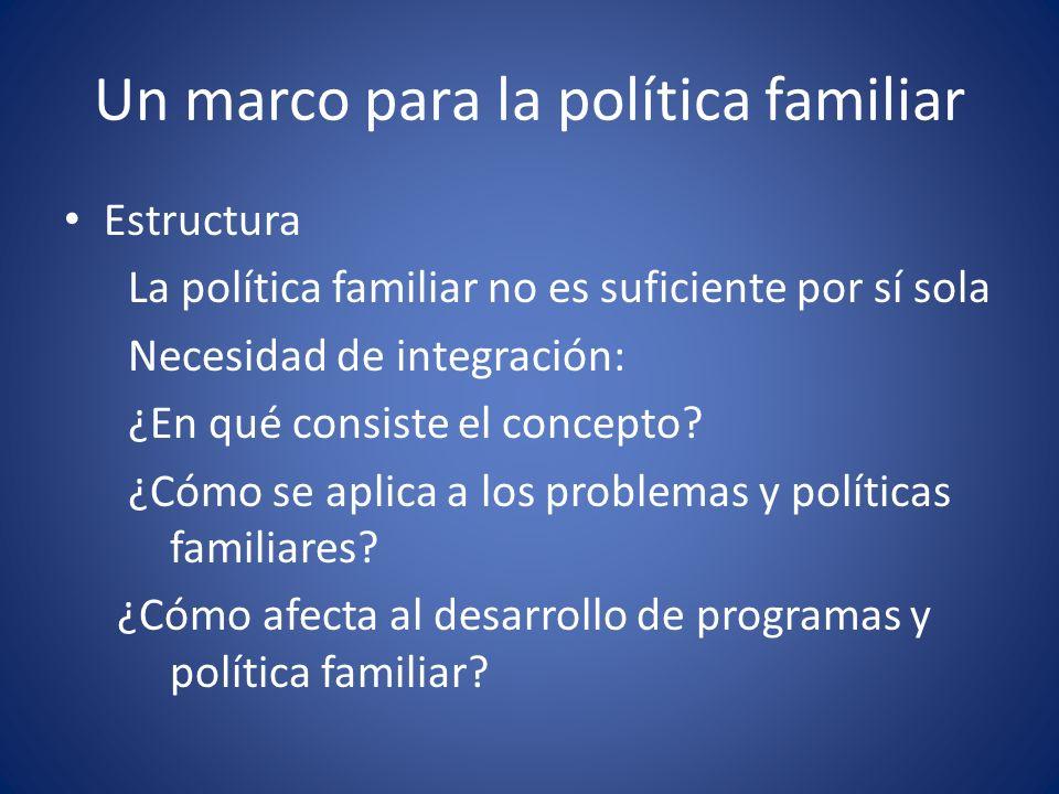Un marco para la política familiar Estructura La política familiar no es suficiente por sí sola Necesidad de integración: ¿En qué consiste el concepto