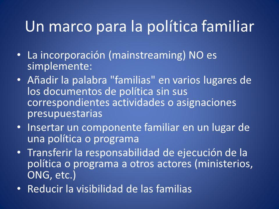 Un marco para la política familiar La incorporación (mainstreaming) NO es simplemente: Añadir la palabra