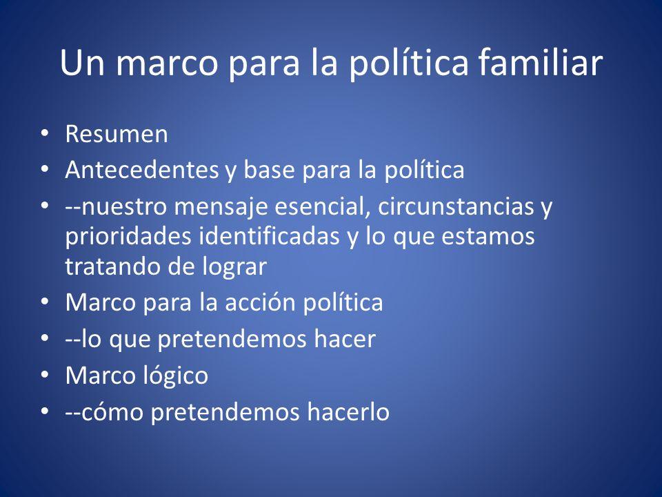 Un marco para la política familiar Resumen Antecedentes y base para la política --nuestro mensaje esencial, circunstancias y prioridades identificadas