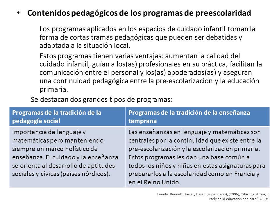 Contenidos pedagógicos de los programas de preescolaridad Los programas aplicados en los espacios de cuidado infantil toman la forma de cortas tramas