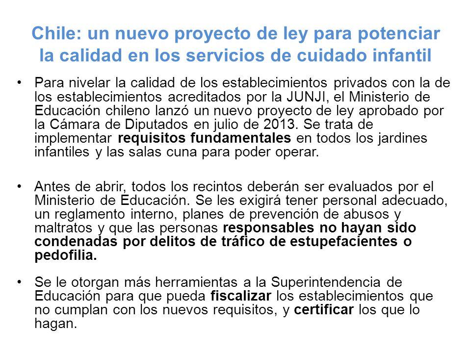Chile: un nuevo proyecto de ley para potenciar la calidad en los servicios de cuidado infantil Para nivelar la calidad de los establecimientos privado