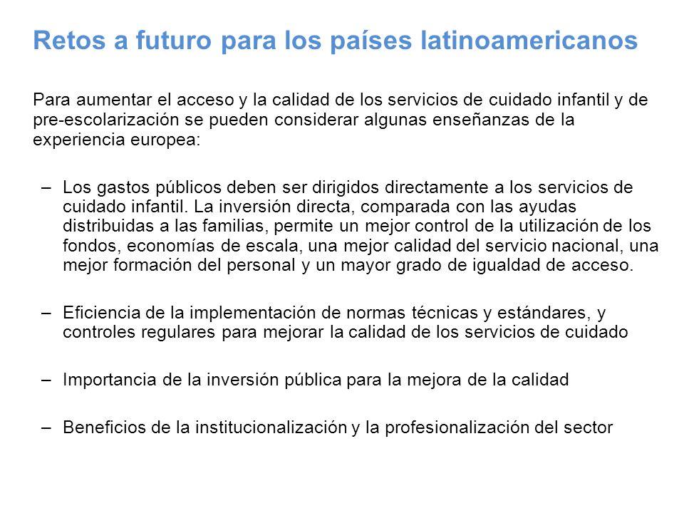 Retos a futuro para los países latinoamericanos Para aumentar el acceso y la calidad de los servicios de cuidado infantil y de pre-escolarización se p