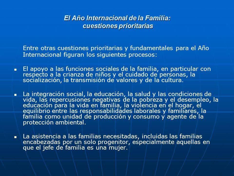El Año Internacional de la Familia, 1994 nivel nacional A nivel nacional, al menos 102 países han establecido comités nacionales de coordinación o mecanismos análogos para el seguimiento del Año Internacional.
