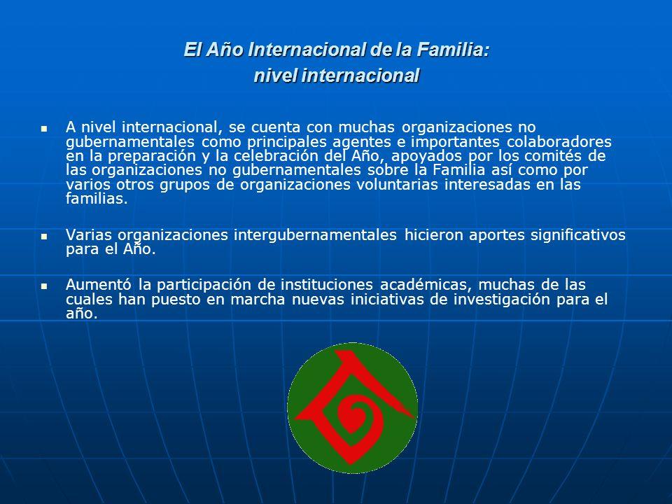 El significado del Año Internacional de la Familia nivel international Contibuye a que los asuntos vinculados a las familias sean considerados de manera formal a nivel internacional.