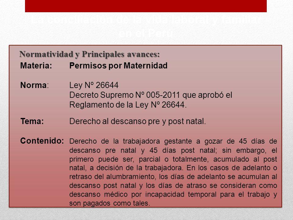 Normatividad y Principales avances: La conciliación de la vida laboral y familiar en el Perú Materia:Permisos por Maternidad Norma:Ley Nº 26644 Decret