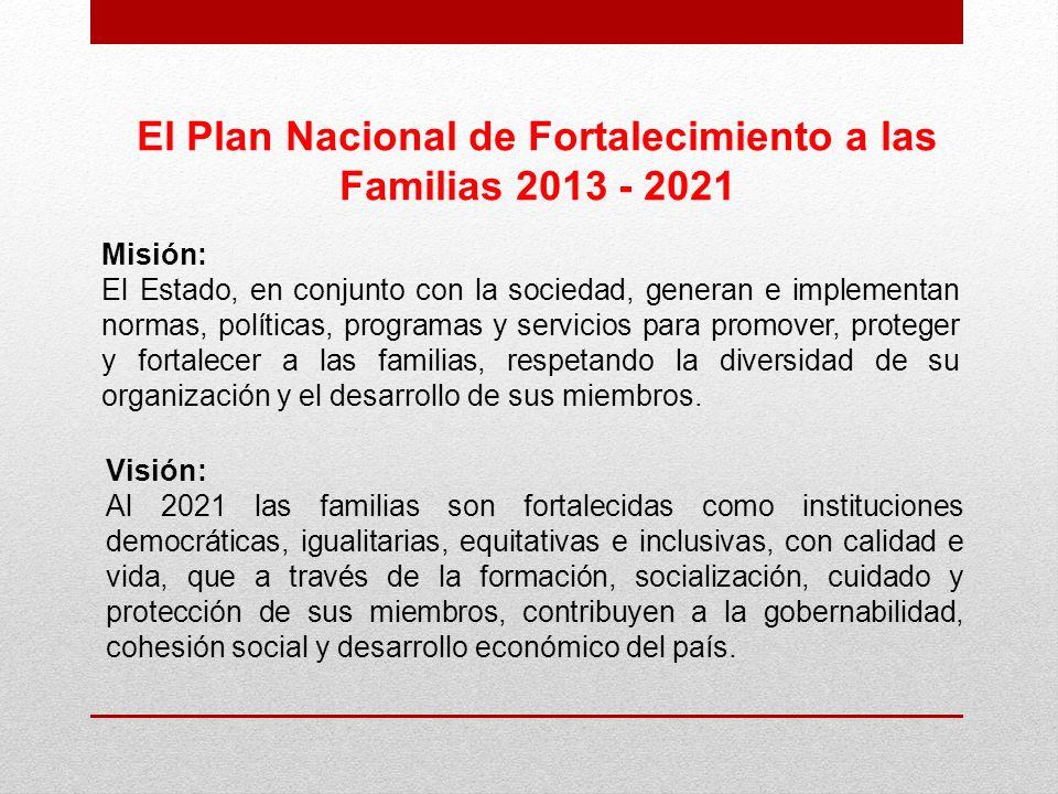 El Plan Nacional de Fortalecimiento a las Familias 2013 - 2021 Misión: El Estado, en conjunto con la sociedad, generan e implementan normas, políticas