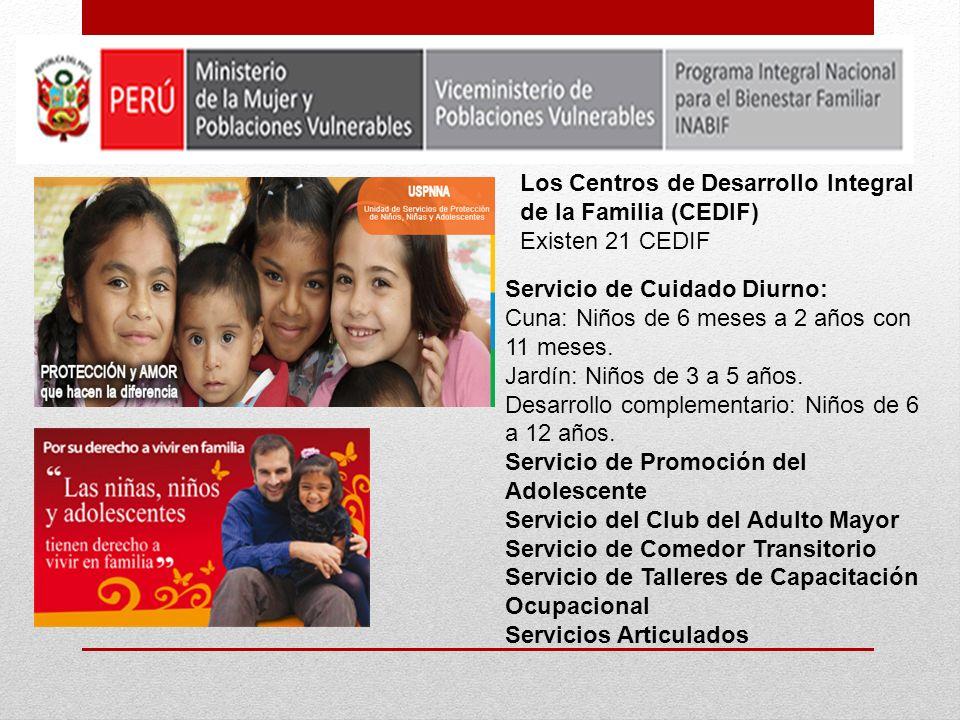 Servicio de Cuidado Diurno: Cuna: Niños de 6 meses a 2 años con 11 meses. Jardín: Niños de 3 a 5 años. Desarrollo complementario: Niños de 6 a 12 años