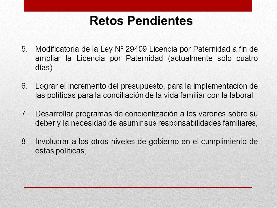 Retos Pendientes 5.Modificatoria de la Ley Nº 29409 Licencia por Paternidad a fin de ampliar la Licencia por Paternidad (actualmente solo cuatro días)
