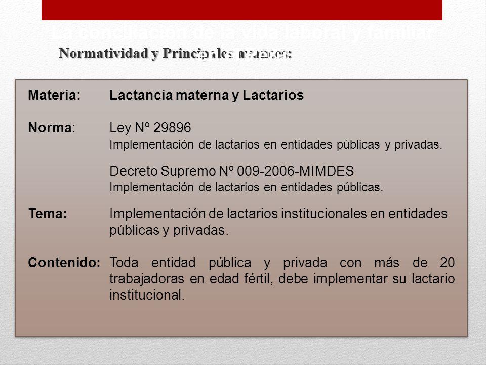 Normatividad y Principales avances: La conciliación de la vida laboral y familiar en el Perú Materia:Lactancia materna y Lactarios Norma:Ley Nº 29896