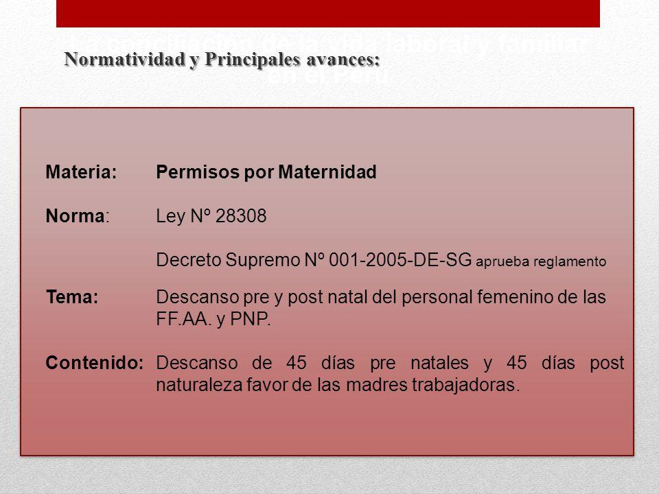Normatividad y Principales avances: La conciliación de la vida laboral y familiar en el Perú Materia:Permisos por Maternidad Norma:Ley Nº 28308 Decret