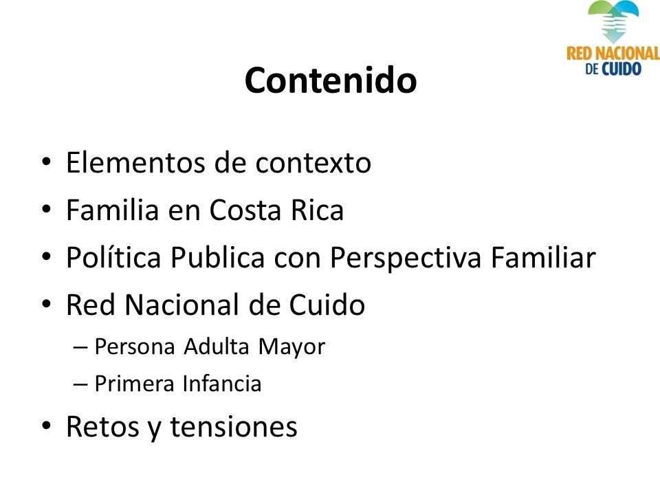 Contenido Elementos de contexto Familia en Costa Rica Política Publica con Perspectiva Familiar Red Nacional de Cuido – Persona Adulta Mayor – Primera Infancia Retos y tensiones