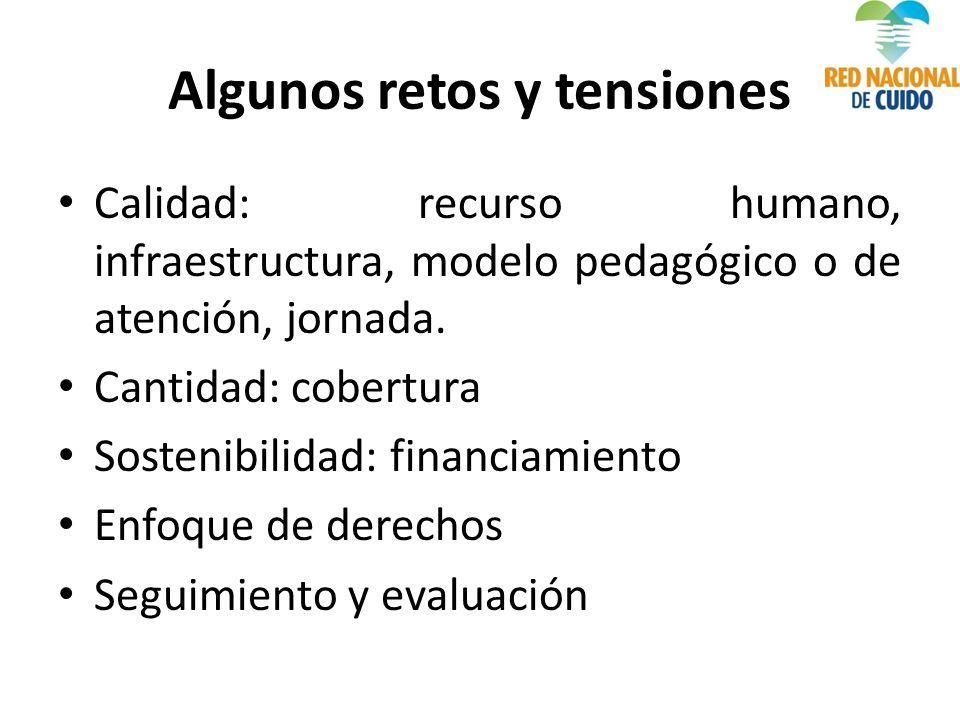 Algunos retos y tensiones Calidad: recurso humano, infraestructura, modelo pedagógico o de atención, jornada.