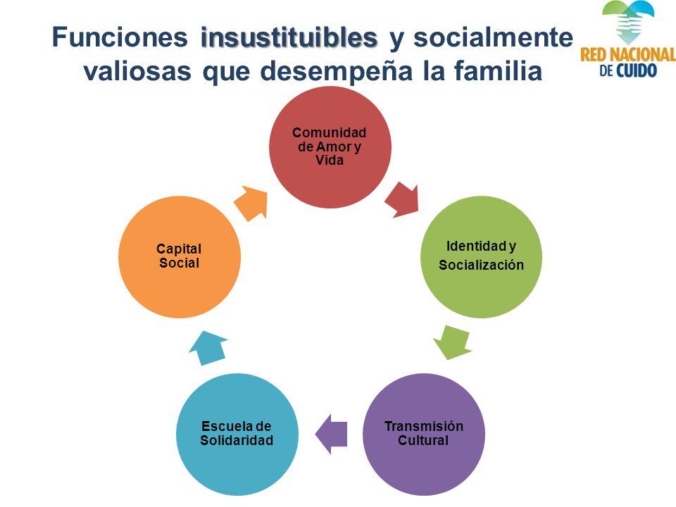 insustituibles Funciones insustituibles y socialmente valiosas que desempeña la familia Comunidad de Amor y Vida Identidad y Socialización Transmisión Cultural Escuela de Solidaridad Capital Social